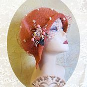 "Аксессуары handmade. Livemaster - original item Beret ""Daphne"" peach orange with veil and brooch with flowers. Handmade."