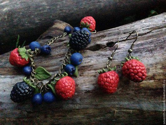 Браслеты ручной работы. Ярмарка Мастеров - ручная работа. Купить Браслет с ягодами из полимерной глины КРАСАВИЦЫ  ЛЕСА. Handmade. Синий
