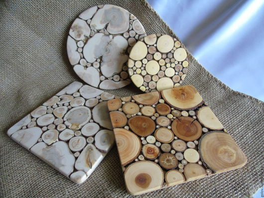 Кухня ручной работы. Ярмарка Мастеров - ручная работа. Купить подставки под горячее( панно из спилов дерева). Handmade. Бежевый