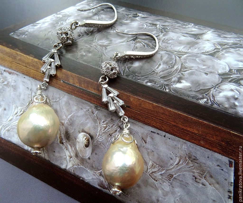 Earrings 'champagne' (pearls Kasumi-like, crystallized), Earrings, Moscow,  Фото №1