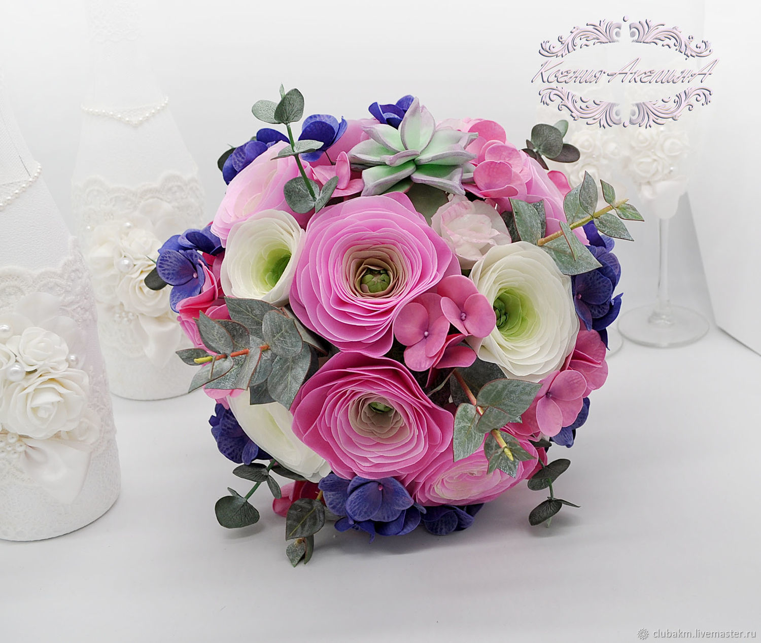 Pink Ranunculus, a bouquet that will not wither, Wedding bouquets, Chelyabinsk,  Фото №1