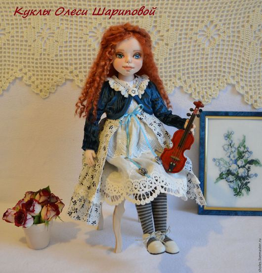 Коллекционные куклы ручной работы. Ярмарка Мастеров - ручная работа. Купить Лиза, текстильная кукла. Handmade. Синий, кукла текстильная