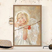 Картины и панно handmade. Livemaster - original item Angel of love, fantasy picture love, Cupid, Cupid.. Handmade.