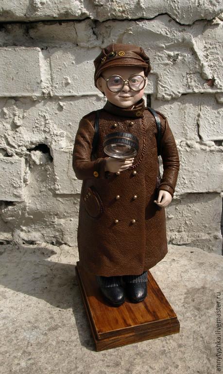 Коллекционные куклы ручной работы. Ярмарка Мастеров - ручная работа. Купить Пытливый ум. Handmade. Коричневый, металлическая фурнитура, лупа