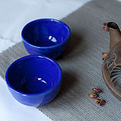 """Посуда ручной работы. Ярмарка Мастеров - ручная работа Пара керамических  пиалок """"Сапфировые"""". Handmade."""