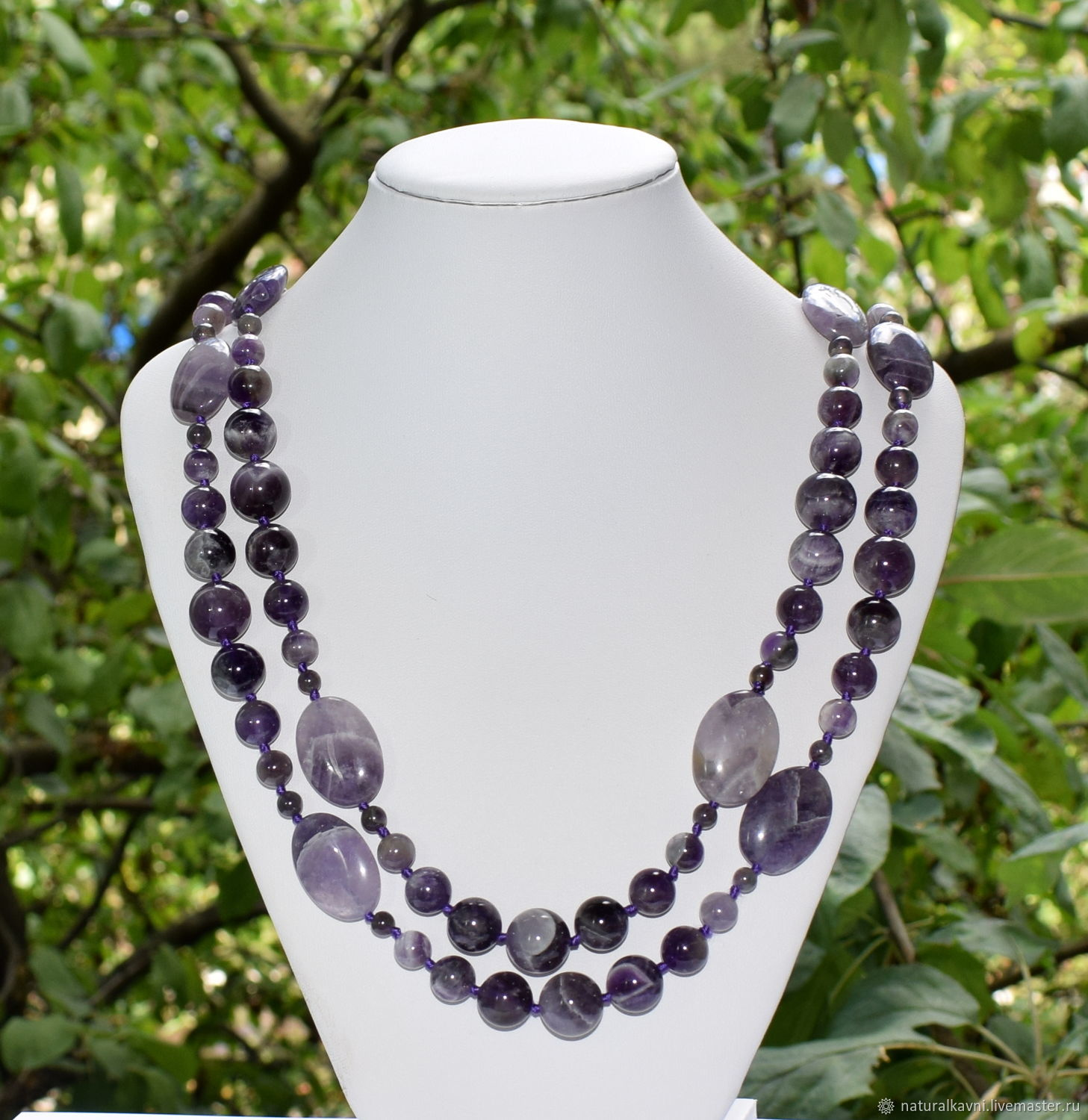 Long large beads natural amethyst, Beads2, Moscow,  Фото №1