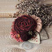 Украшения ручной работы. Ярмарка Мастеров - ручная работа Брошь из ткани Марсала брошь цветок текстильная брошь бохо бордо. Handmade.