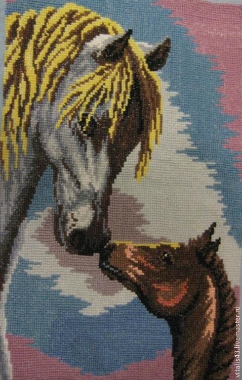 Животные ручной работы. Ярмарка Мастеров - ручная работа. Купить Мамина забота 1. Вышитая картина. Handmade. Разноцветный, животные