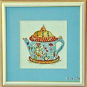 """Картины и панно ручной работы. Ярмарка Мастеров - ручная работа Вышитая картина """"Чайник голубой"""". Handmade."""