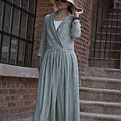 Платья ручной работы. Ярмарка Мастеров - ручная работа Бин зеленый конопли темперамент стройное платье. Handmade.