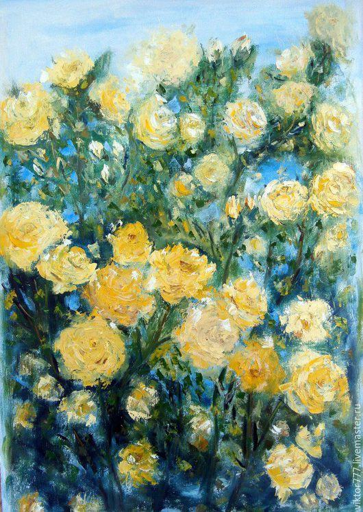 Картины цветов ручной работы. Ярмарка Мастеров - ручная работа. Купить Куст розы.. Handmade. Желтый, бежево-коричневый
