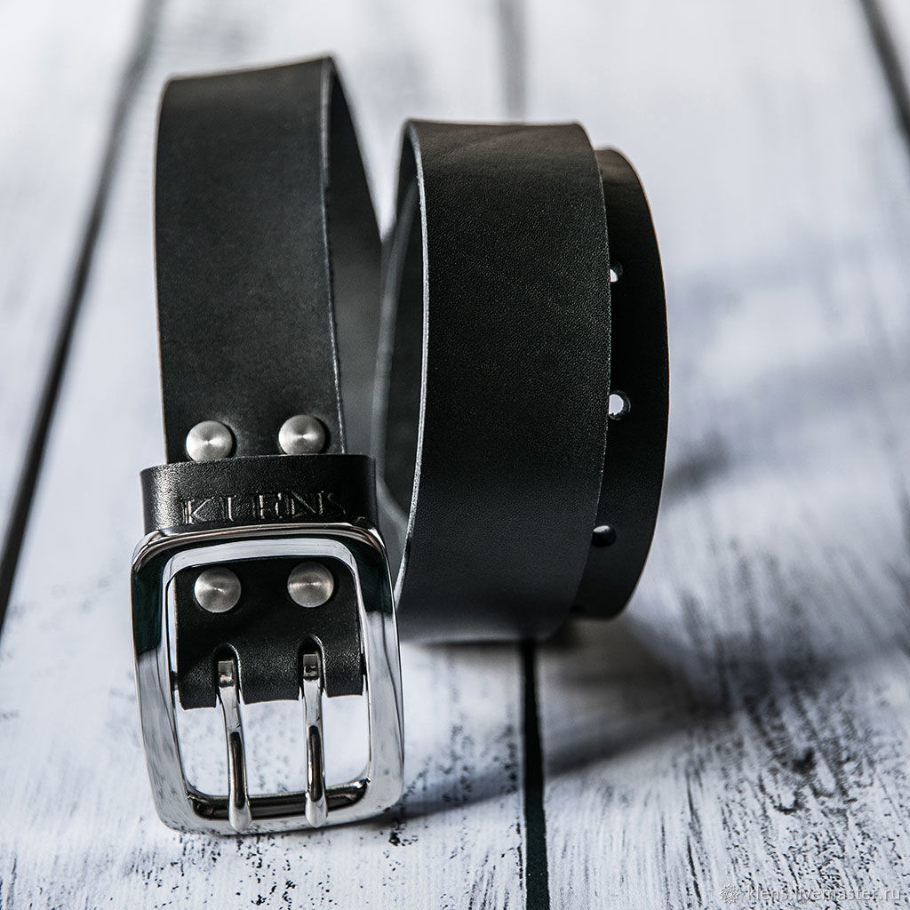 Men's genuine leather belt, buckle and screws-stainless steel, Straps, Sergiev Posad,  Фото №1