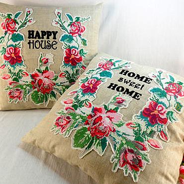 Для дома и интерьера ручной работы. Ярмарка Мастеров - ручная работа Наволочка декоративная,винтажная вышивка,диванная подушка,уютный дом. Handmade.