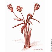 Картины и панно ручной работы. Ярмарка Мастеров - ручная работа Картина Три тюльпана рисунок карандашом коричневый графика тюльпаны. Handmade.