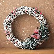 """Подарки к праздникам ручной работы. Ярмарка Мастеров - ручная работа Новогодний венок на дверь """" Иней """" рождественский венок. Handmade."""