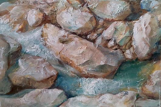 Пейзаж ручной работы. Ярмарка Мастеров - ручная работа. Купить Камни. Handmade. Морская волна, вода, горная река, камни