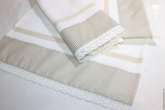 Кухня ручной работы. Ярмарка Мастеров - ручная работа. Купить Вафельные полотенца для кухни в стиле прованс. Handmade. Белый