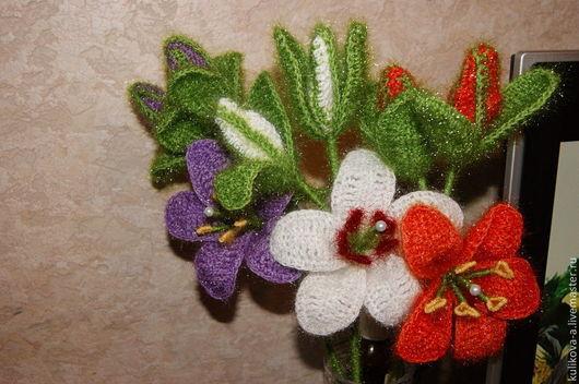Цветы ручной работы. Ярмарка Мастеров - ручная работа. Купить Цветы ручной работы. Handmade. Разноцветный, вязаные лилии, цветы