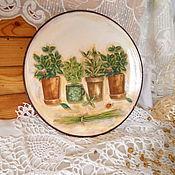 Картины и панно ручной работы. Ярмарка Мастеров - ручная работа декоративная тарелка Душистые травы. Handmade.