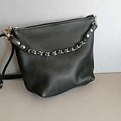 Сумки и аксессуары handmade. Livemaster - original item Leather bag. Crossbody bag. Hobo small. black. Handmade.