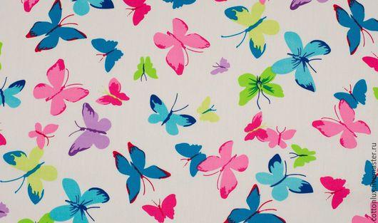 Шитье ручной работы. Ярмарка Мастеров - ручная работа. Купить Ткань хлопок 100% бабочки колор. Handmade. Хлопок