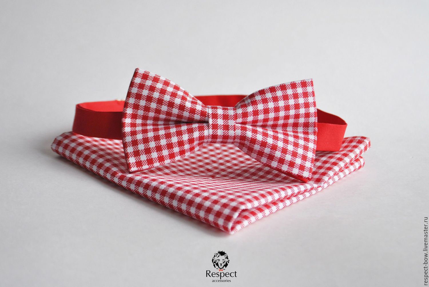 Red tie plaid pocket square red Vichy, Ties, Moscow,  Фото №1