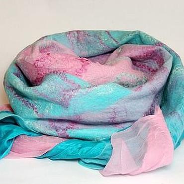 Аксессуары ручной работы. Ярмарка Мастеров - ручная работа шарф валяный мятно-розовый. Handmade.