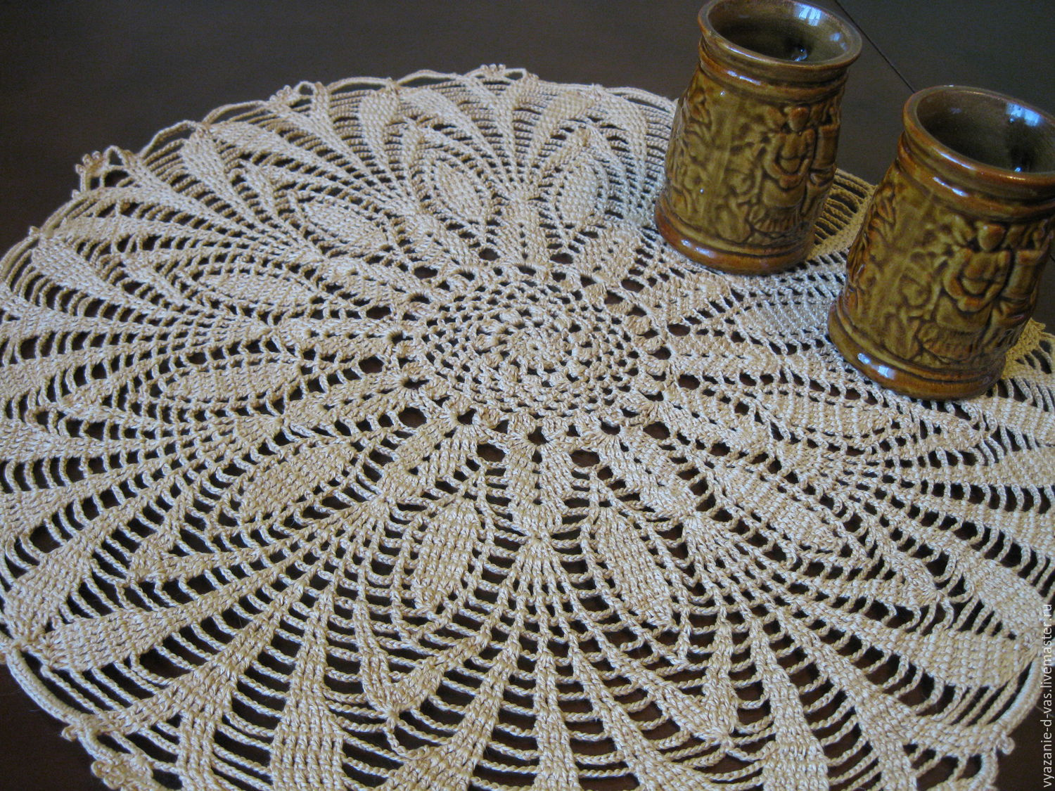 Crochet napkin round openwork beige gift for home cottages, Swipe, Voronezh,  Фото №1