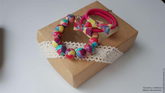 Комплекты украшений ручной работы. Ярмарка Мастеров - ручная работа. Купить подарок  девочке браслет  резинки для волос яркий. Handmade.