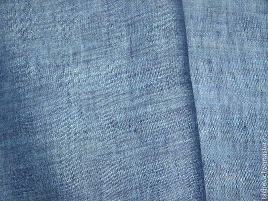 Шитье ручной работы. Ярмарка Мастеров - ручная работа. Купить Ткань льняная -джинса. Handmade. Синий, шитье