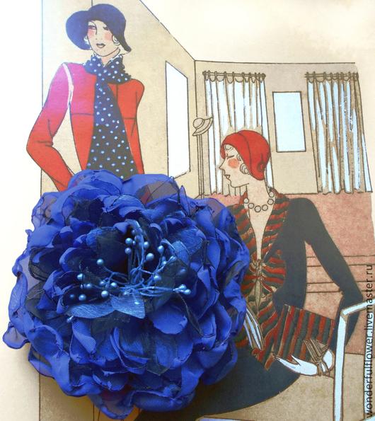 """Броши ручной работы. Ярмарка Мастеров - ручная работа. Купить Брошь-заколка """"Ультрамарин"""". Handmade. Синий, брошь-цветок"""