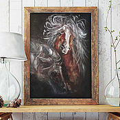 handmade. Livemaster - original item A pair of horses, an oil painting on canvas, he and she. Handmade.