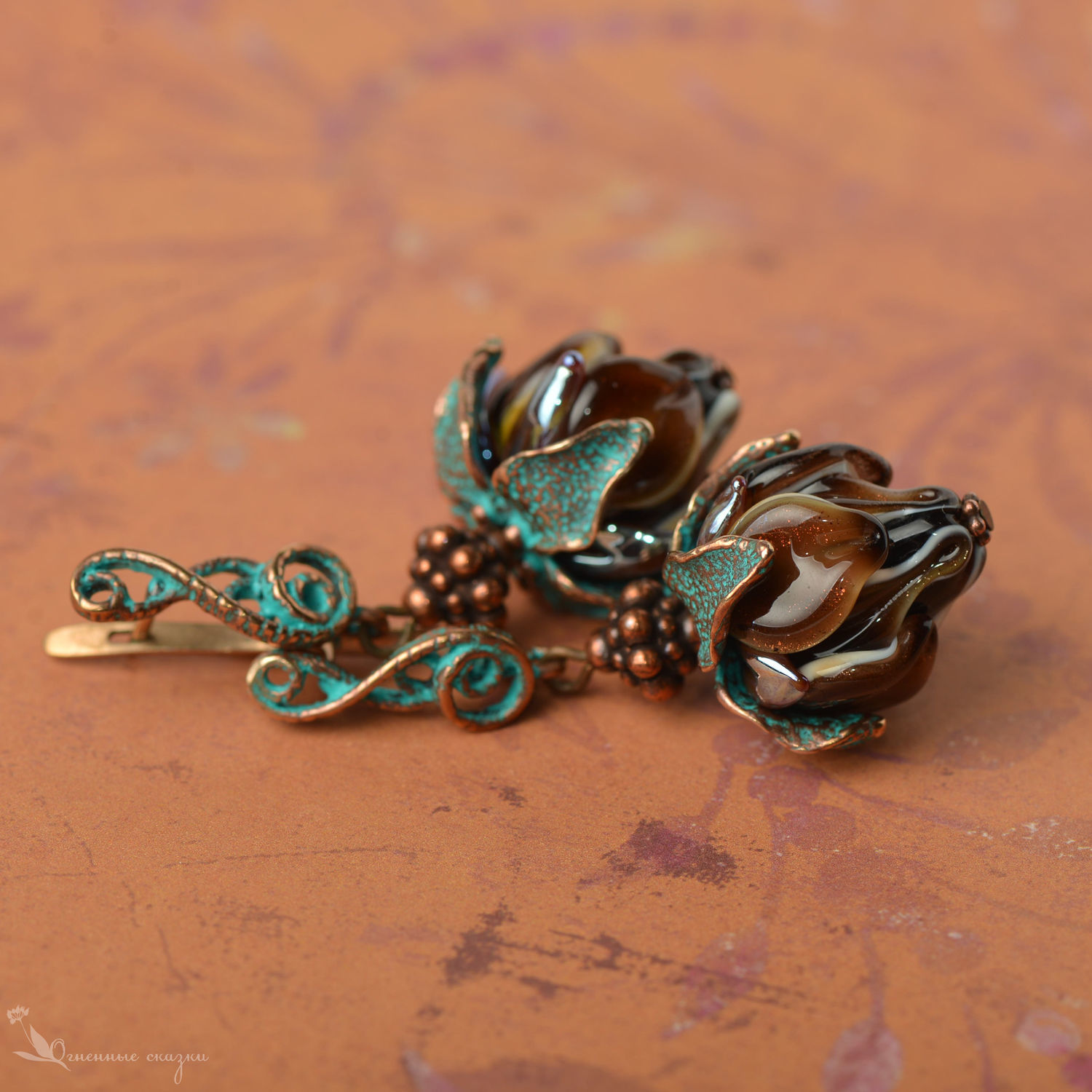 Earrings classic: Chocolate and turquoise flowers lampwork, Earrings, Moscow,  Фото №1
