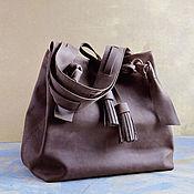 """Большая женская коричневая сумка из натуральной кожи  """"Сахара"""""""