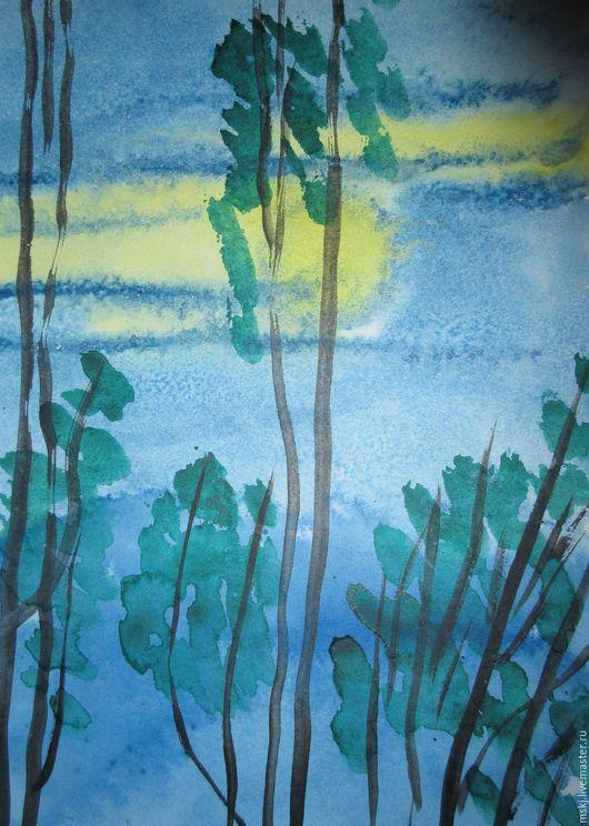 Пейзаж ручной работы. Ярмарка Мастеров - ручная работа. Купить Акварель Луна. Handmade. Комбинированный, акварельный рисунок, акварельная живопись