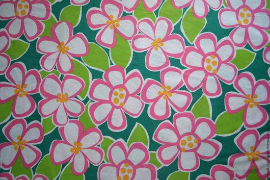 """Шитье ручной работы. Ярмарка Мастеров - ручная работа. Купить Хлопок ткань для пэчворка """"Розовые цветы 2"""". Корея. Handmade."""
