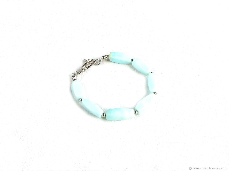 Opal bracelet, natural stone bracelet, blue opal, Bead bracelet, Moscow,  Фото №1