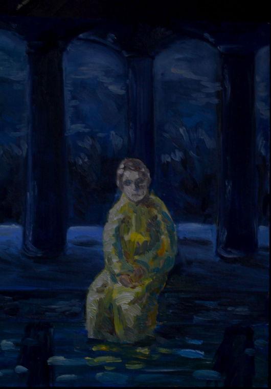 Люди, ручной работы. Ярмарка Мастеров - ручная работа. Купить Картина Ожидание. Handmade. Тёмно-синий, человек, ночь, символизм