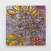 """Картины и панно handmade. Livemaster - original item The painting on wood 50x50sm """"Forest"""". Handmade."""