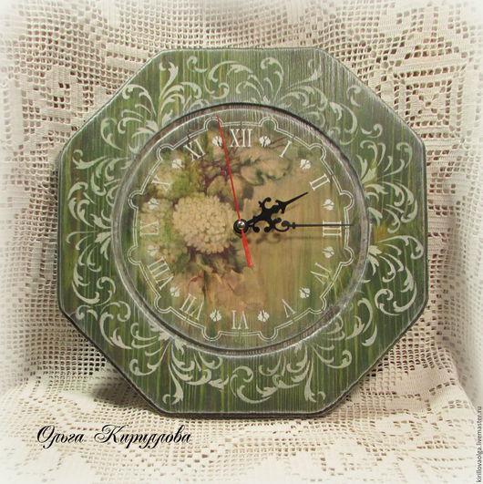 """Часы для дома ручной работы. Ярмарка Мастеров - ручная работа. Купить Набор для кухни """"Гортензия"""". Handmade. Оливковый, конфетница декупаж"""