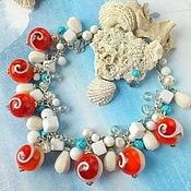 """Украшения ручной работы. Ярмарка Мастеров - ручная работа """"Морской круиз"""" колье из натуральных камней. Коралл, ракушки, жемчуг.. Handmade."""