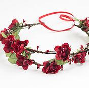 Украшения ручной работы. Ярмарка Мастеров - ручная работа Сочный цветочный венок с красными цветами. Handmade.