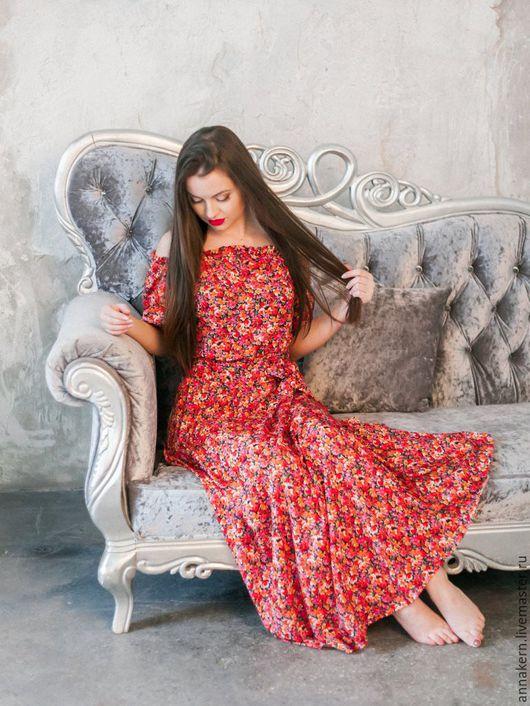 Платья ручной работы. Ярмарка Мастеров - ручная работа. Купить Платье из вискозы. Handmade. Ярко-красный, платье из вискозы