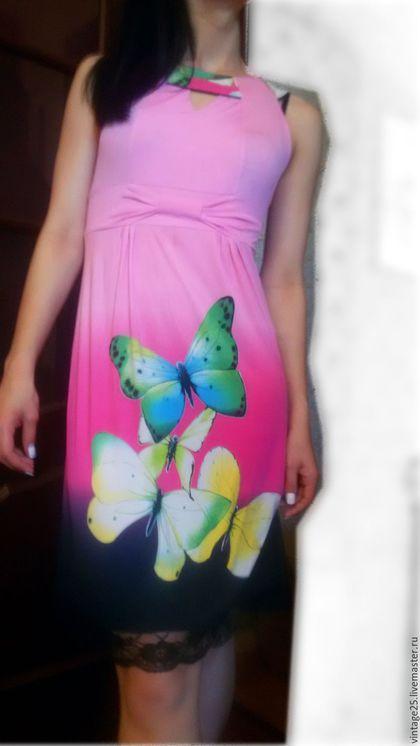 Одежда. Ярмарка Мастеров - ручная работа. Купить Винтажное платье Бабочки. Handmade. Розовый, старинное платье, летнее платье