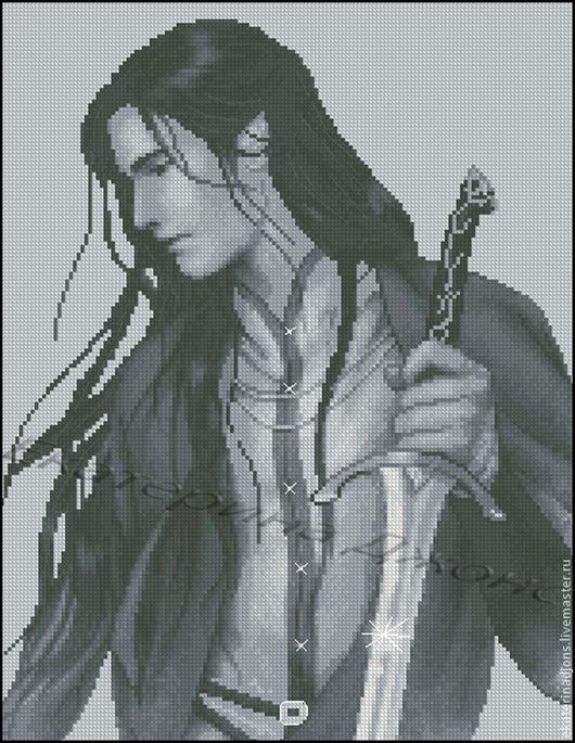 Вышивка ручной работы. Ярмарка Мастеров - ручная работа. Купить Эльф с мечом - авторская схема вышивки.. Handmade. Серый
