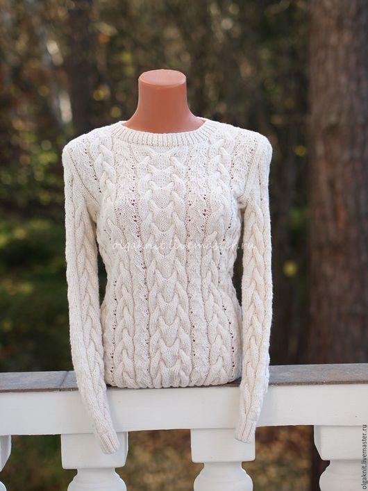 """Кофты и свитера ручной работы. Ярмарка Мастеров - ручная работа. Купить Пуловер из мериносовой шерсти """"Осень-зима"""". Handmade. Белый"""