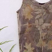 Одежда ручной работы. Ярмарка Мастеров - ручная работа Майка топ, эко принт. Handmade.