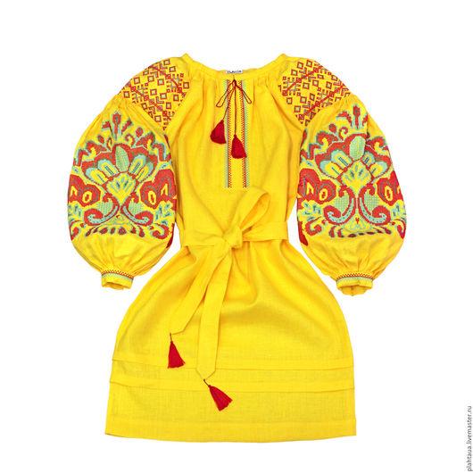 """Платья ручной работы. Ярмарка Мастеров - ручная работа. Купить Платье-вышиванка """"Цвет Папоротника"""". Handmade. Желтый, Машинная вышивка"""