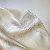 Аксессуары ручной работы. Ярмарка Мастеров - ручная работа Шарф Агат белый шелковый батик. Handmade.