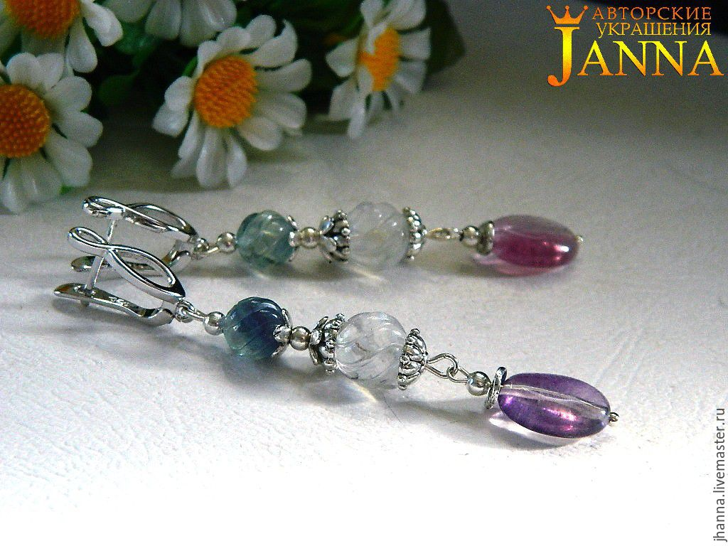 Earrings made of fluorite at elite hardware, Earrings, Volgograd,  Фото №1